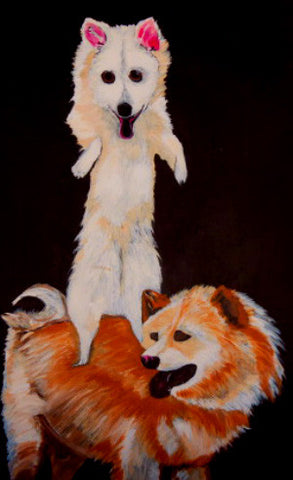 American eskimo and chow chow print from original painting