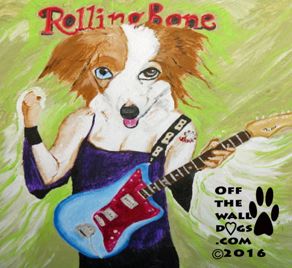 Collie with one blue eye Rock star doggie 8x 10 print from original artwork