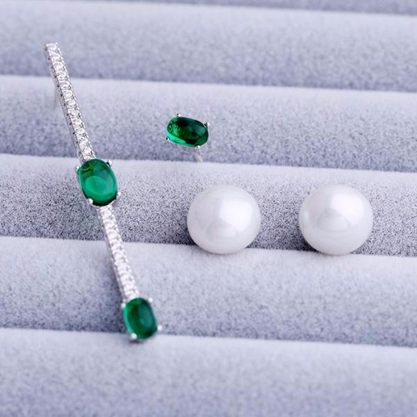 Great Holiday Gift Idea  Jewelry, Asymmetric Zircon Earrings Simulated Pearl - FashionHo