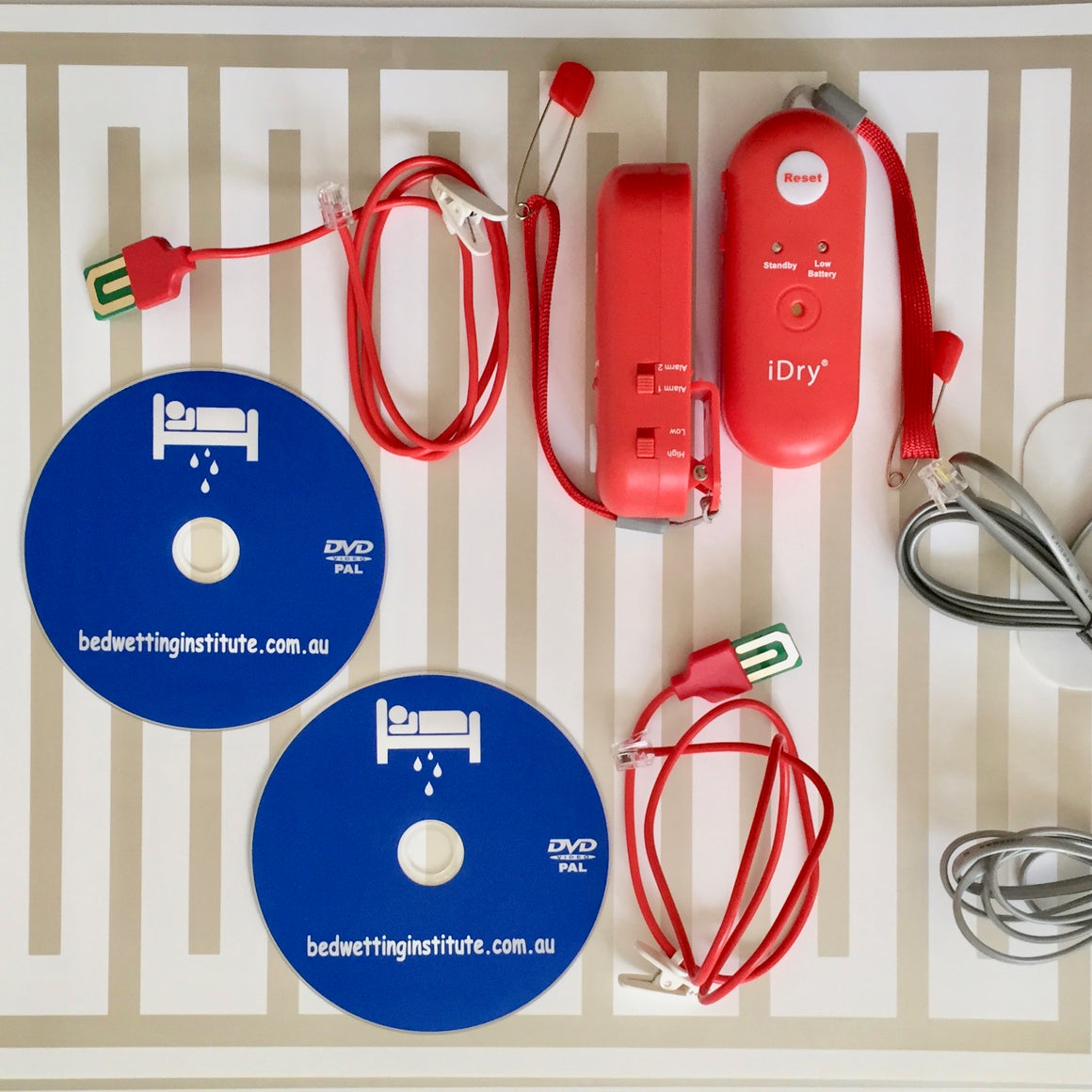 Twin pack -2 x iDry Bedwetting Alarm +2 x underpants sensor + 2 x alarm mat for Pad and Bell