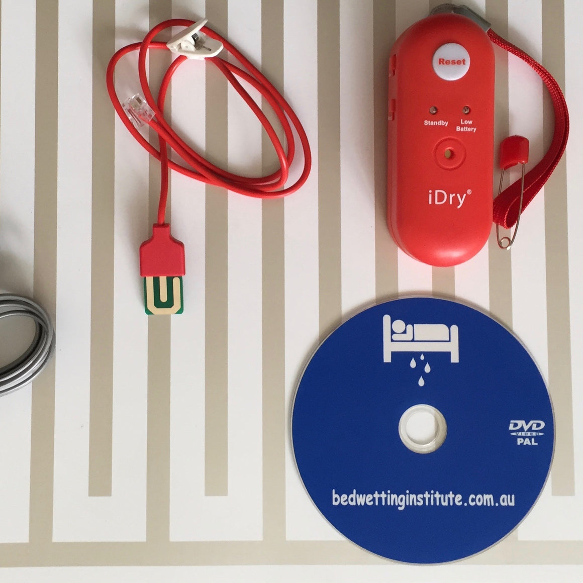 iDry Bed Wetting Alarm - loudest + one mat pad + underpants sensor + DVD bedwetting