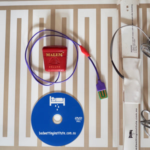 Malem DELUXE Bed Wetting Alarm 8 sounds +  2 mats + clip-on + DVD Bedwetting Cured
