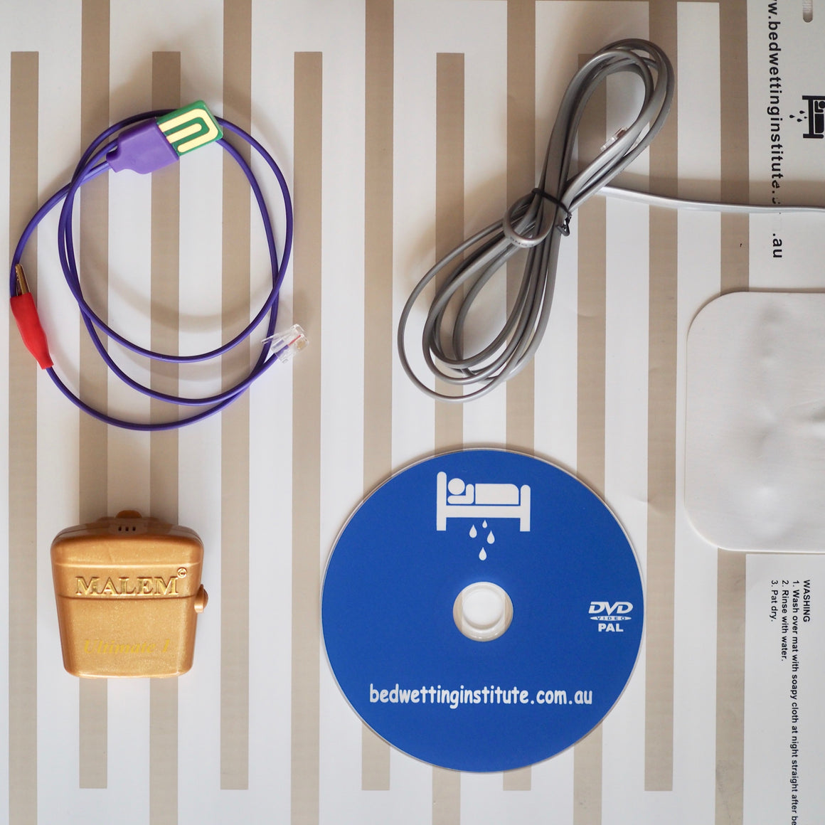 Malem Gold Ultimate Bed wetting Alarm + underpants sensor + alarm sensor mat + DVD