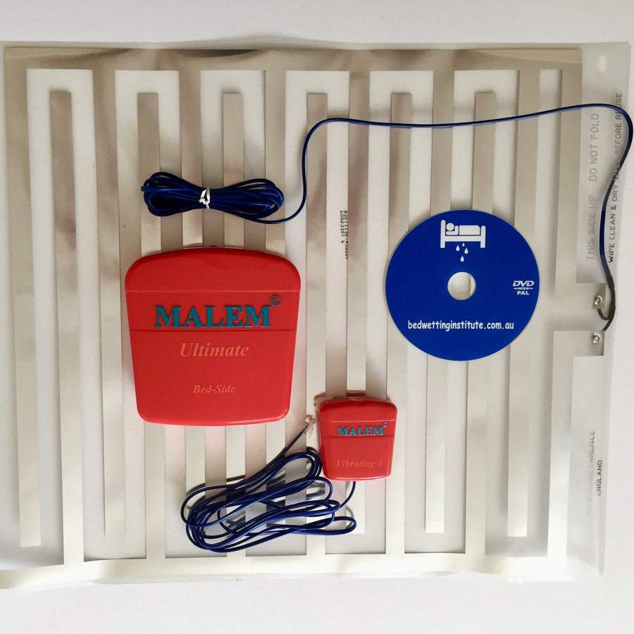 Malem Bedside Alarm + Vibration unit + bonus DVD Bedwetting Cured
