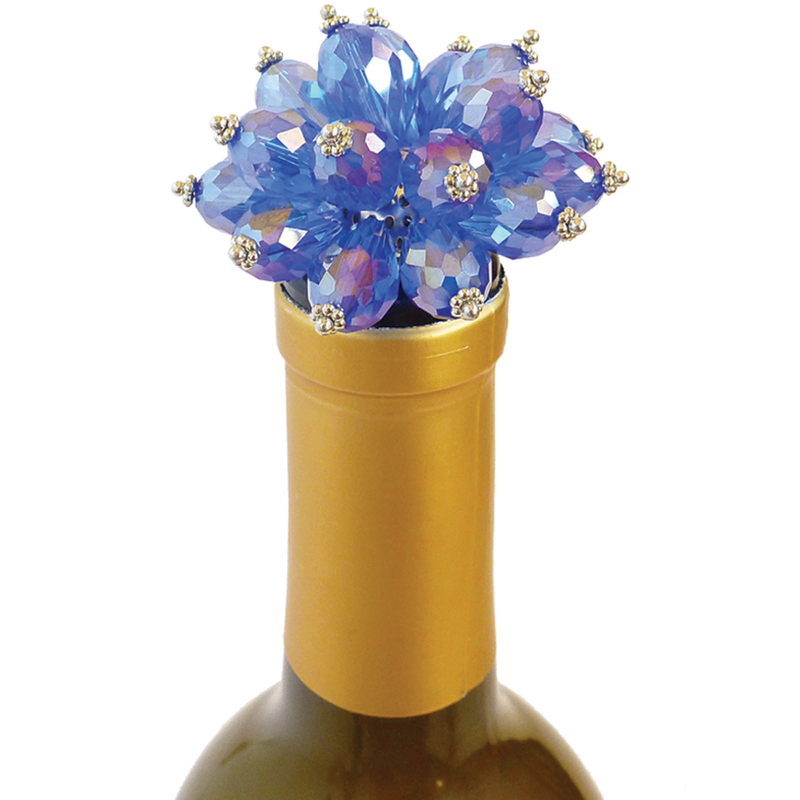 blue bouquet bottle stopper