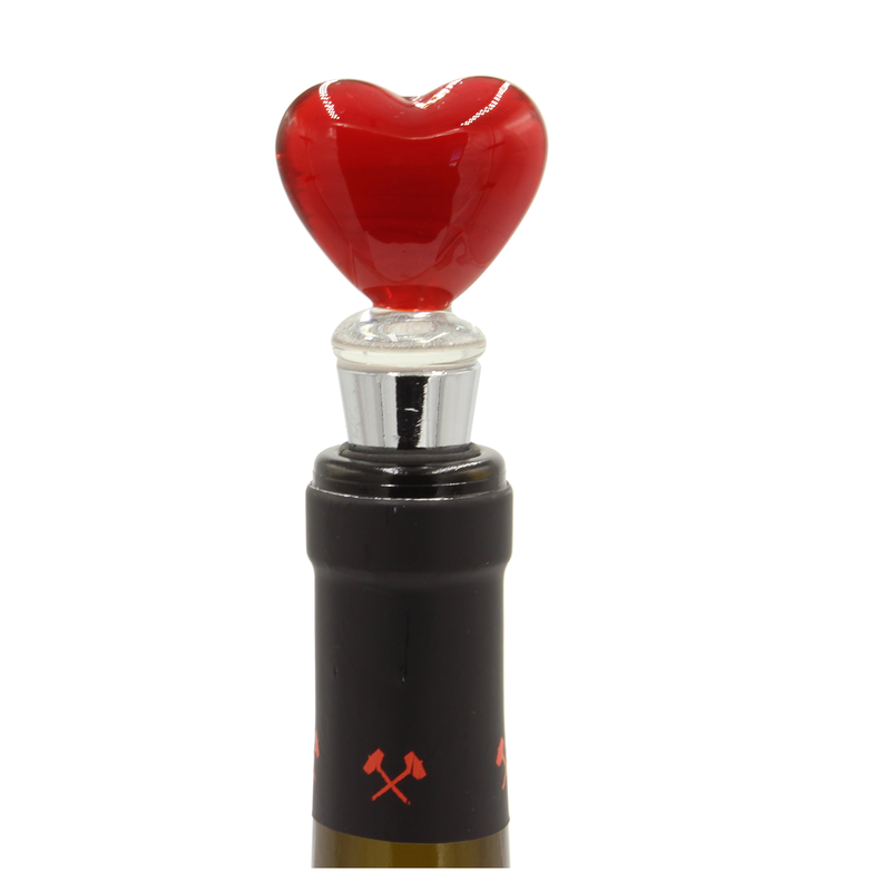 glass red heart bottle stopper