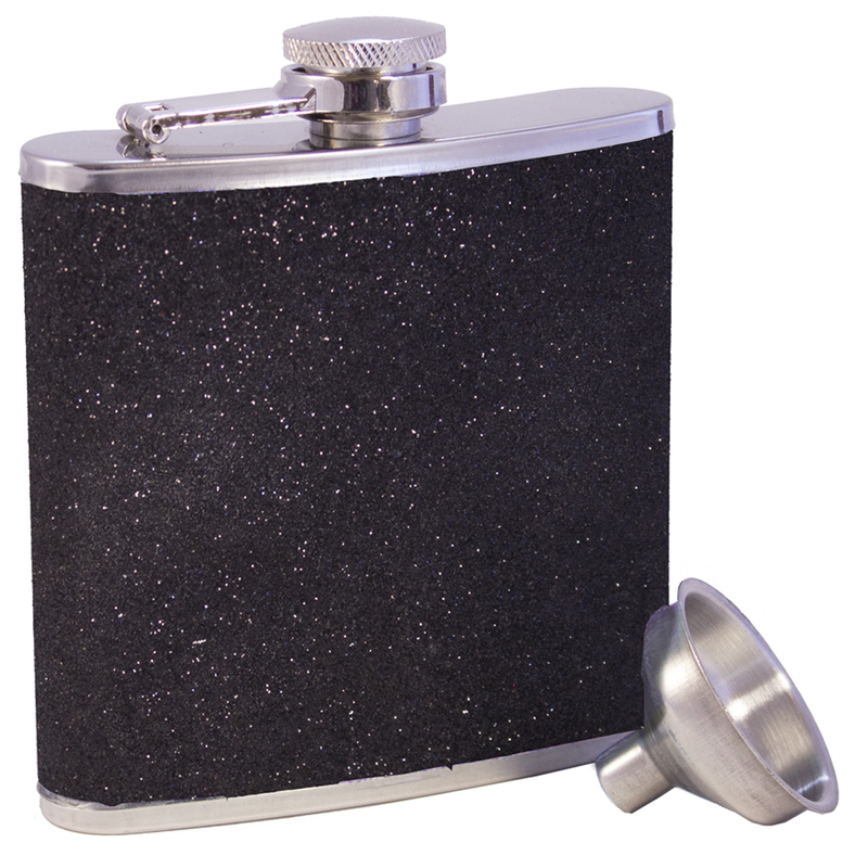stainless steel black glitter flask with funnel