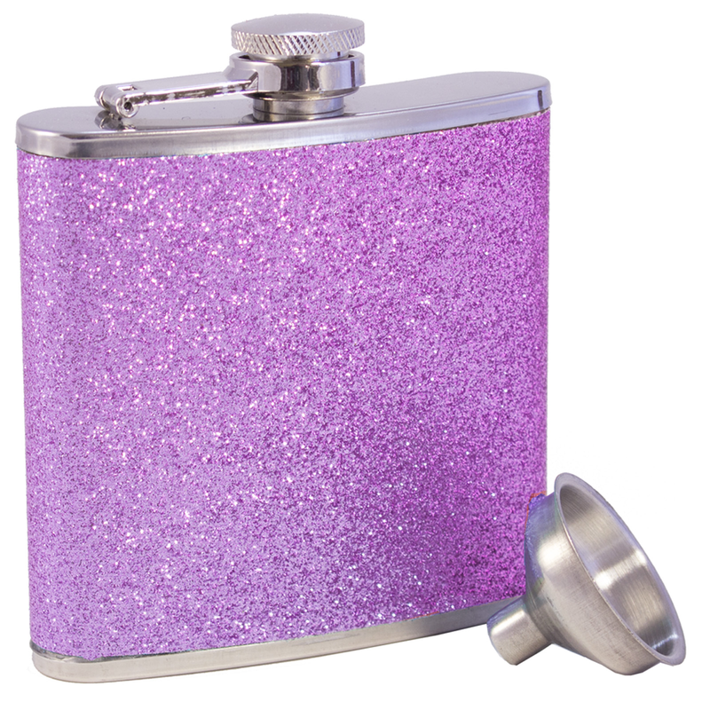 stainless steel pink glitter flask with funnel