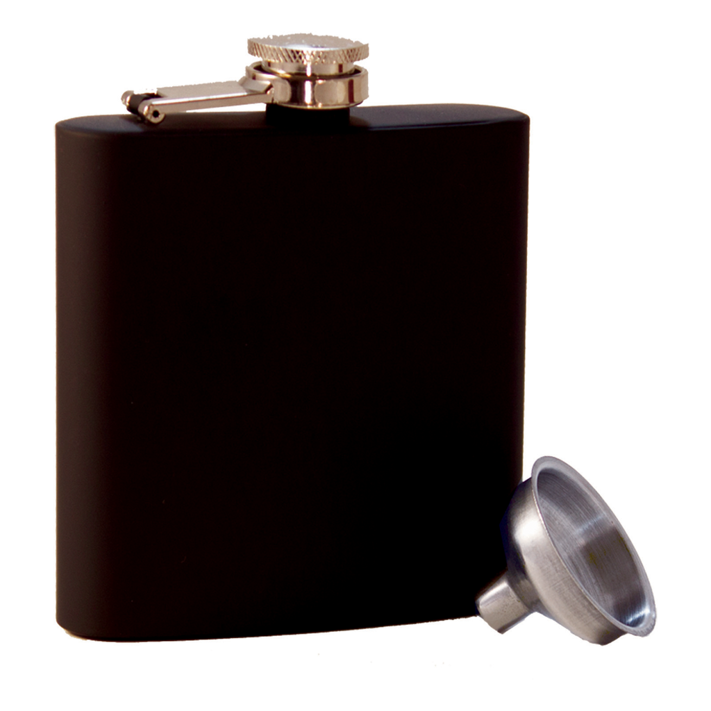 stainless steel black rubberized flask with funnel