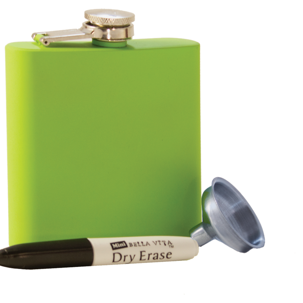 diy stainless steel lime green rubberized flask with funnel