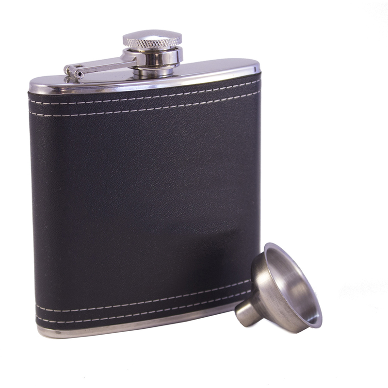 stainless steel black leather flask with funnel