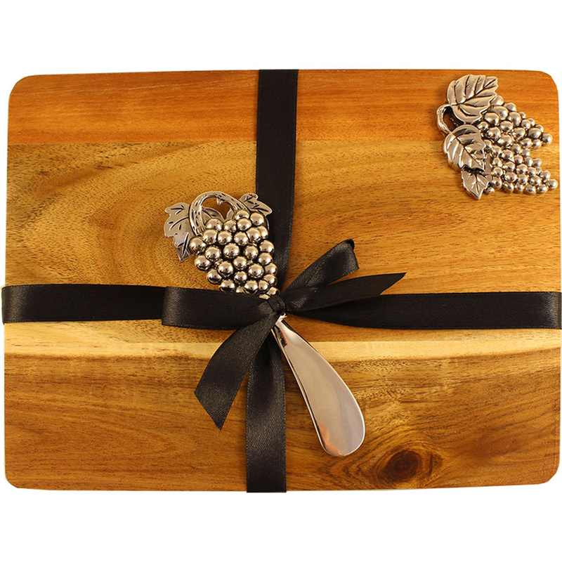 wooden serving tray with silver acacia cluster knife