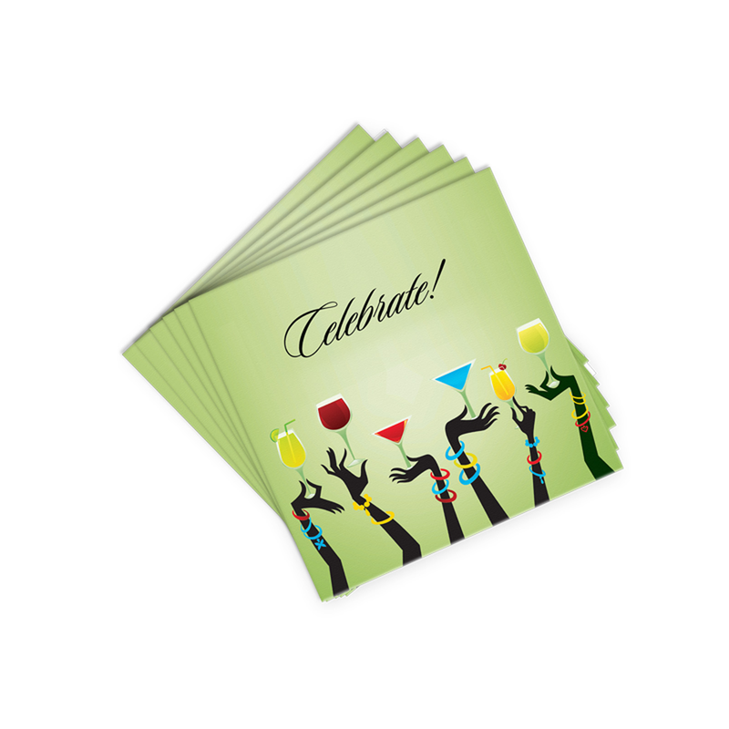 green celebrate cocktail napkins