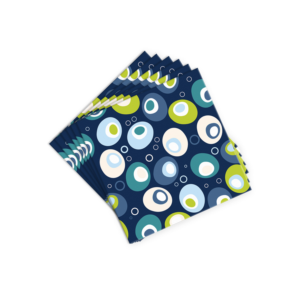 blue festive olives cocktail napkins