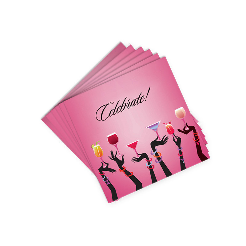 pink celebrate cocktail napkins