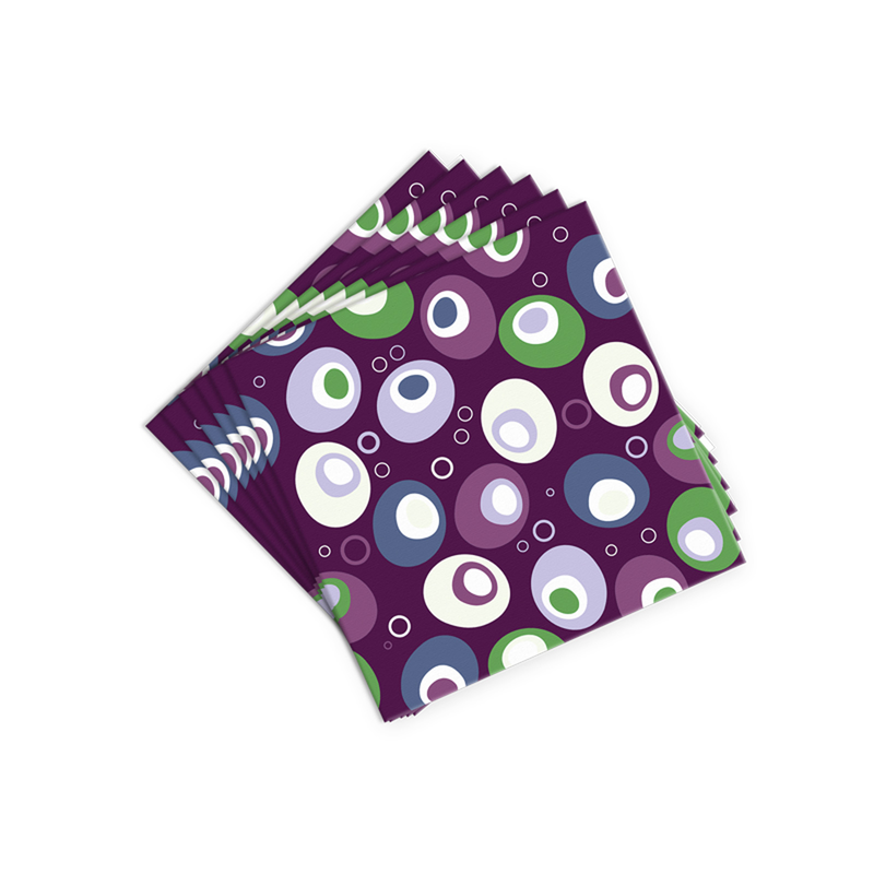purple festive olives cocktail napkins