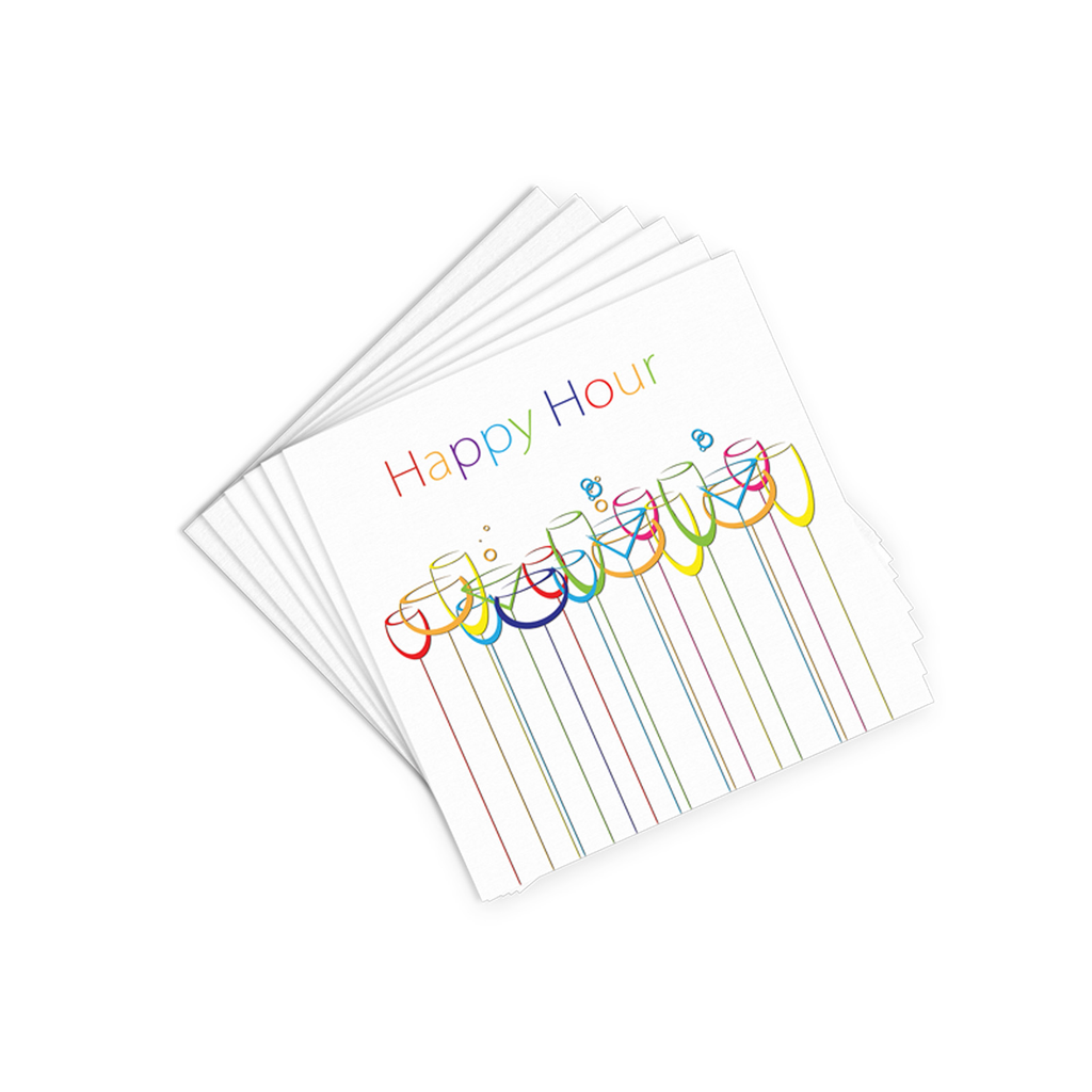 white happy hour cocktail napkins