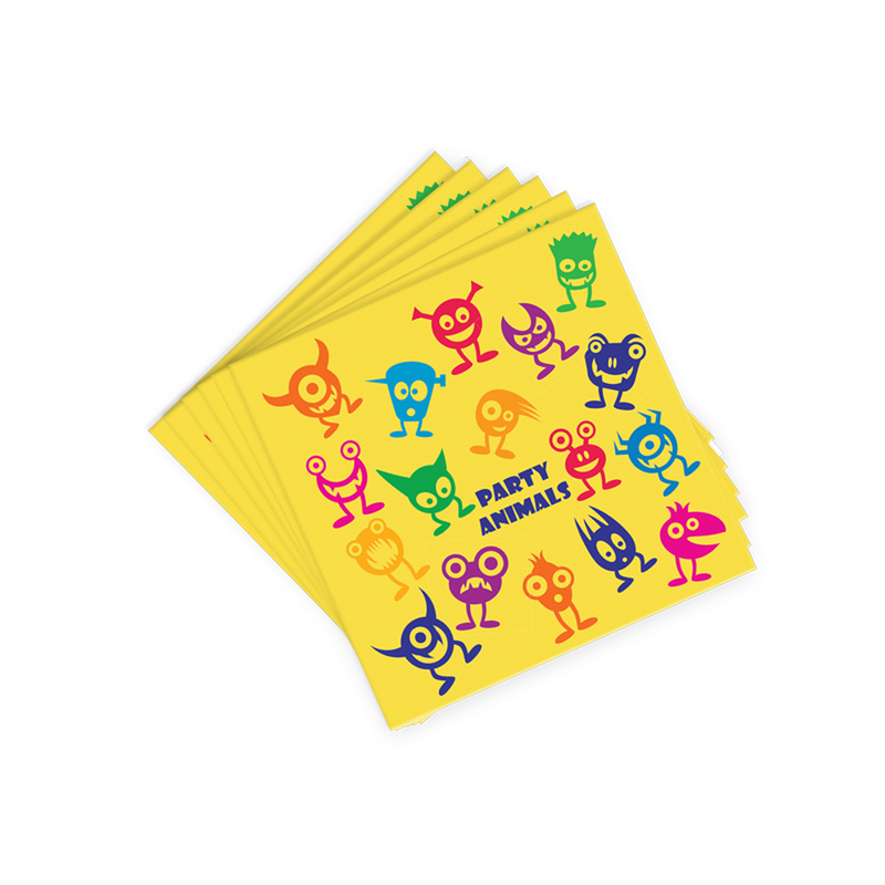 yellow party animals cocktail napkins