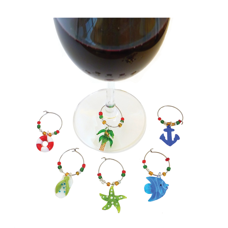 beach themed glass wine charms