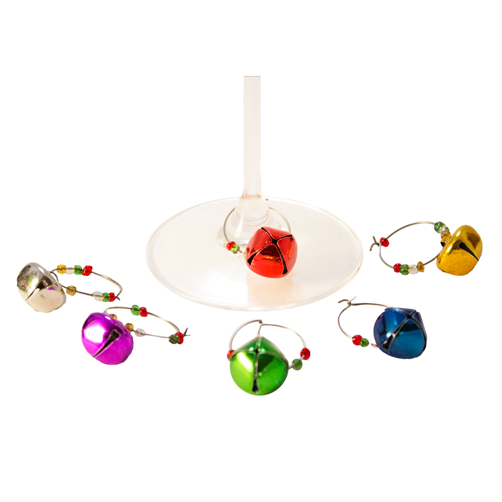 holiday bells wine charms