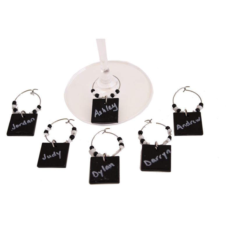 diy black board wine charms