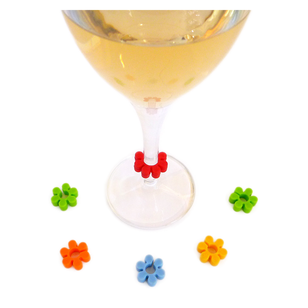 flowers wine charms