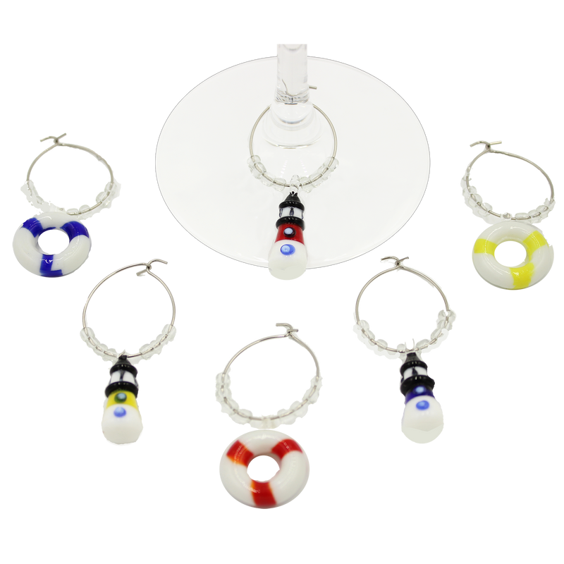 glass lighthouse wine charms