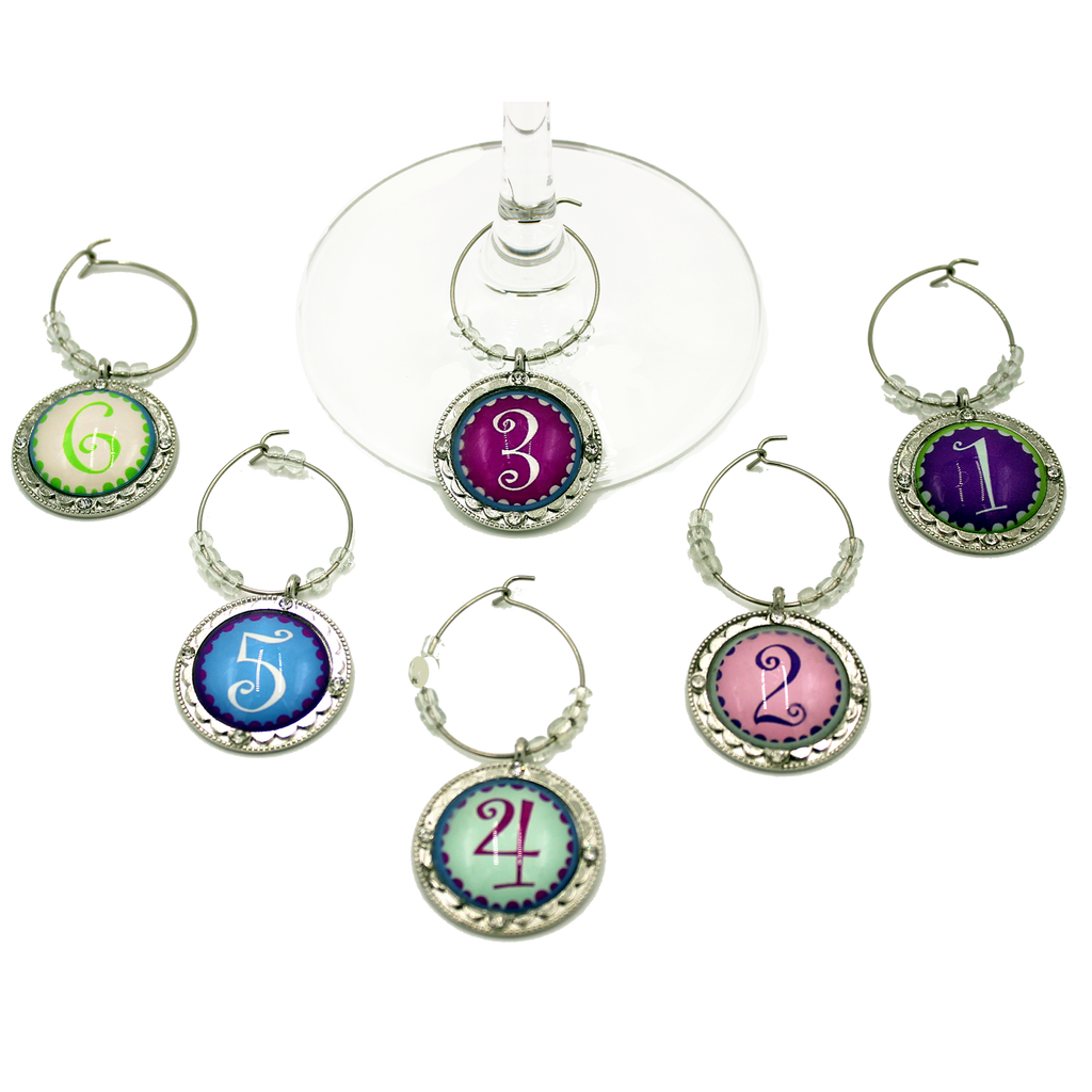 number wine charms