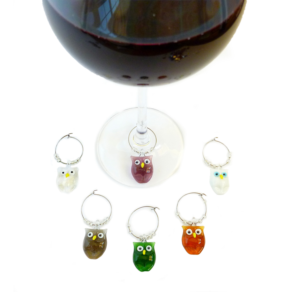 glass owl wine charms