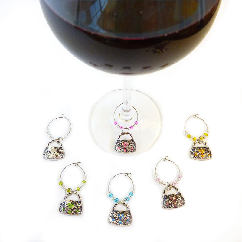 crystal purse wine charms
