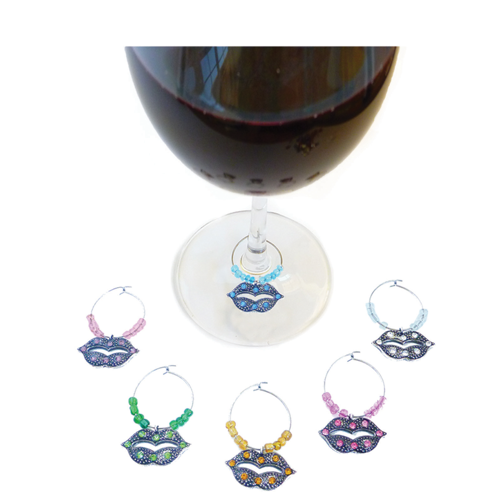 crystal lips wine charms