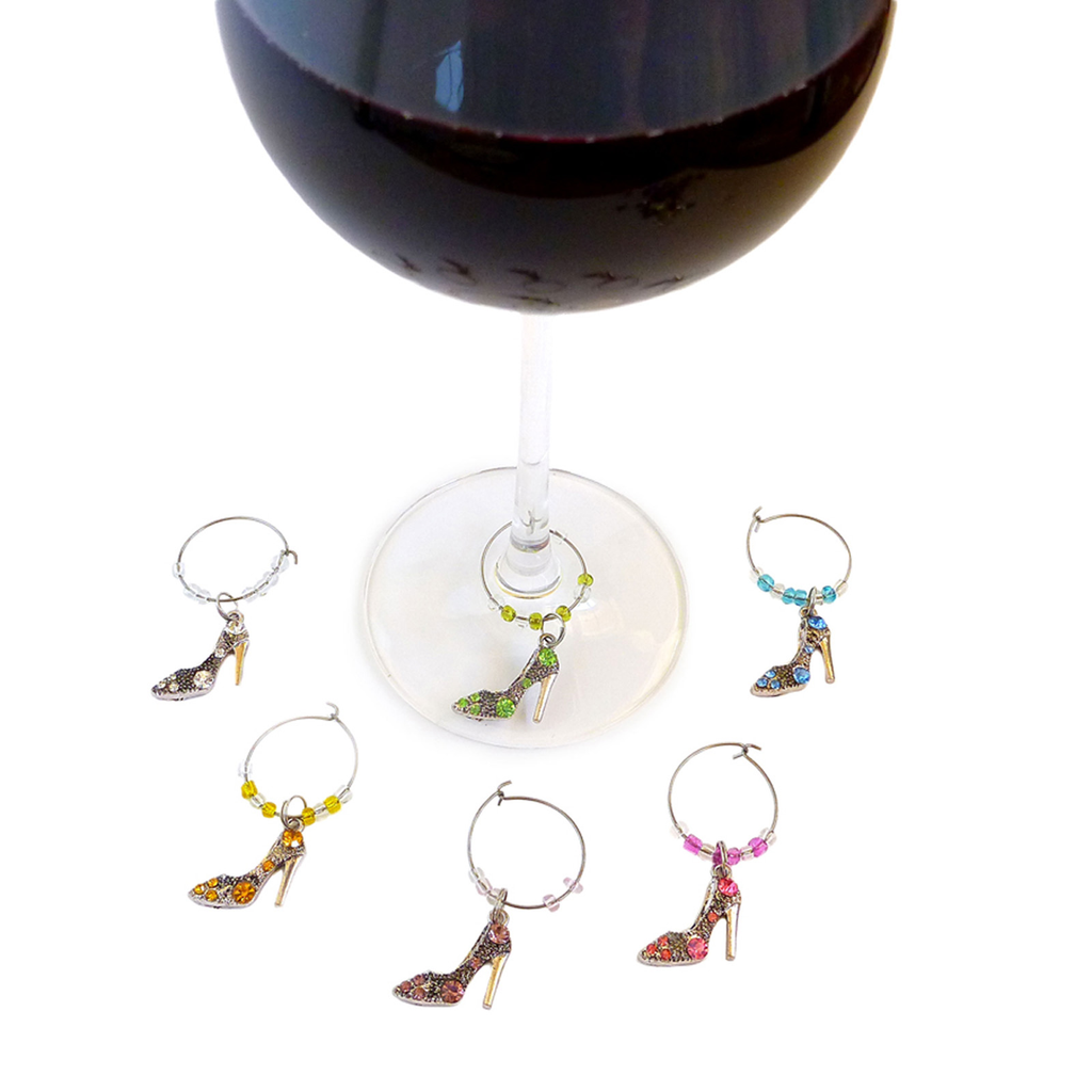 crystals high heels wine charms