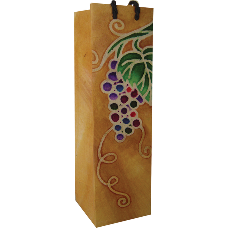 batik grape cluster wine bottle bag