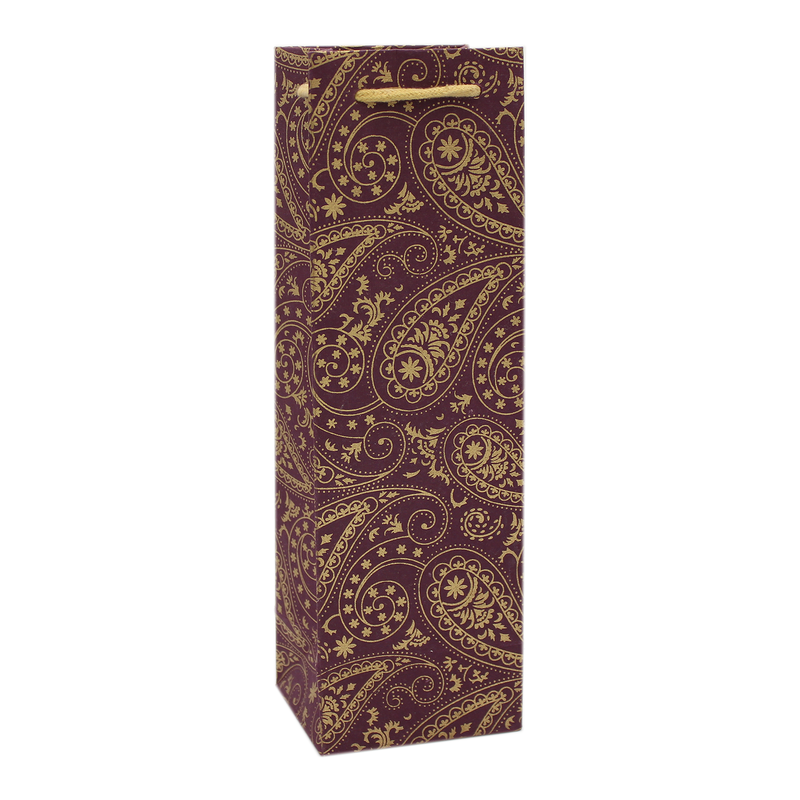 eco friendly burg paisley wine bottle bag