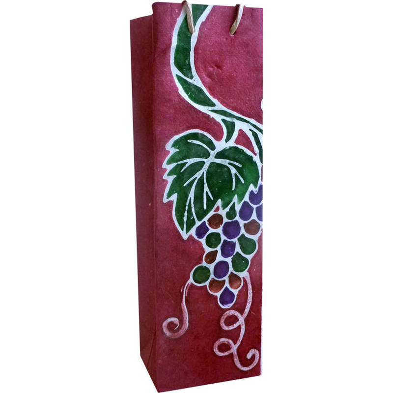 burgundy batik grape cluster wine bottle bag