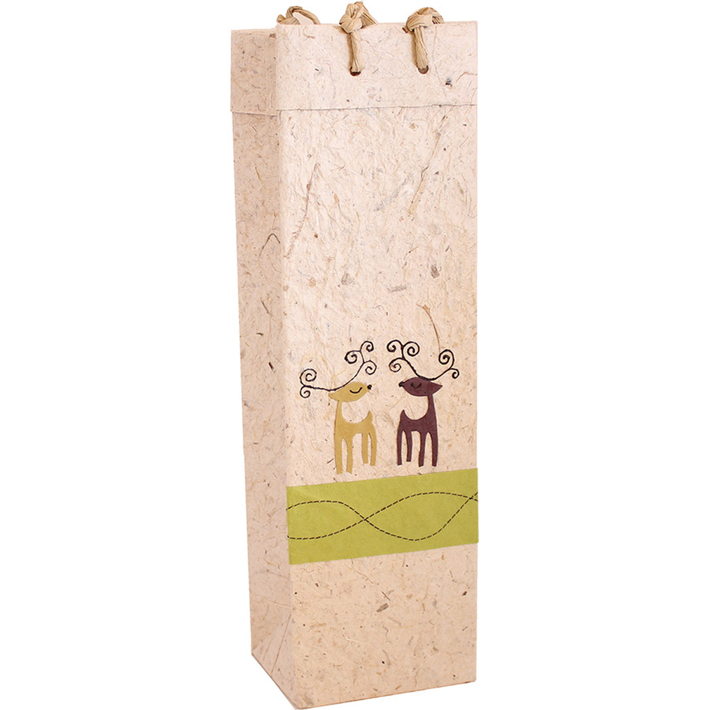 holiday caribou wine bottle bag