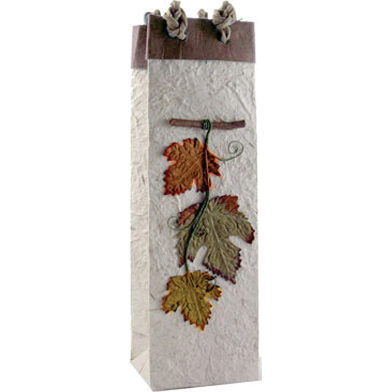 multicolored foliage wine bottle bag