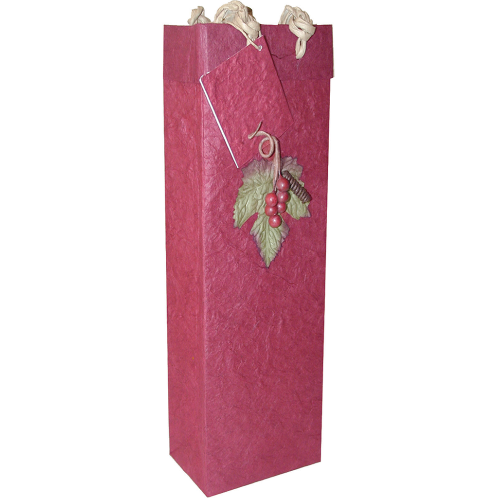 burgundy 3d grapes wine bottle bag