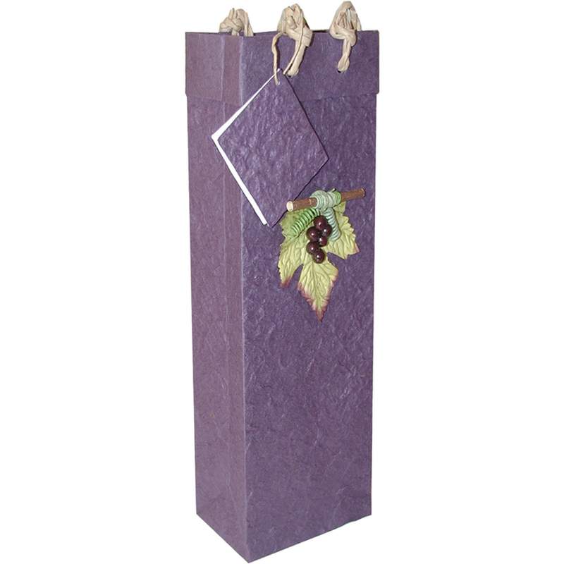 violet 3d grapes wine bottle bag