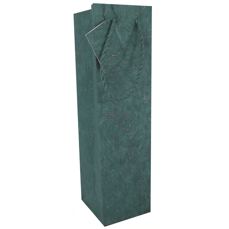 green gold tinsel wine bottle bag