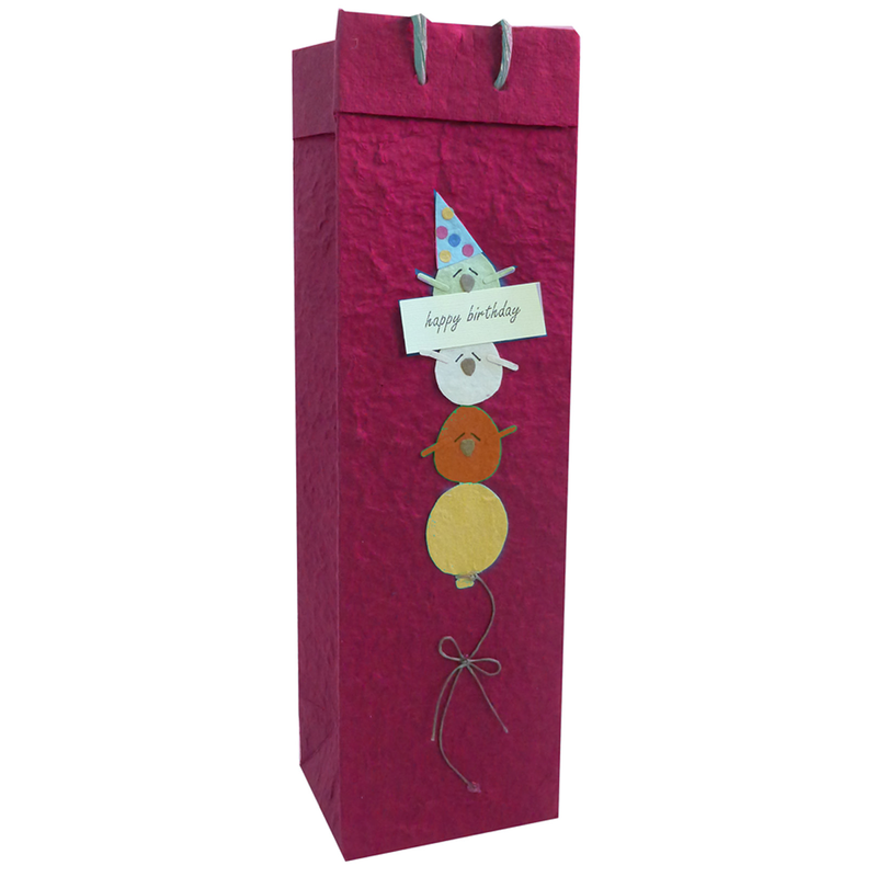 happy birthday birds wine bottle bag