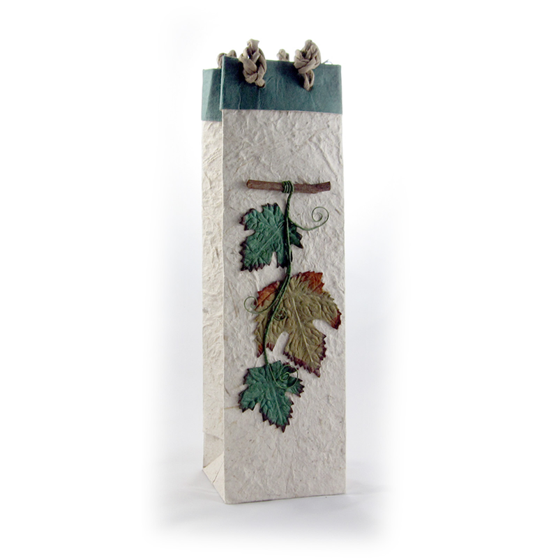 harvest foliage wine bottle bag