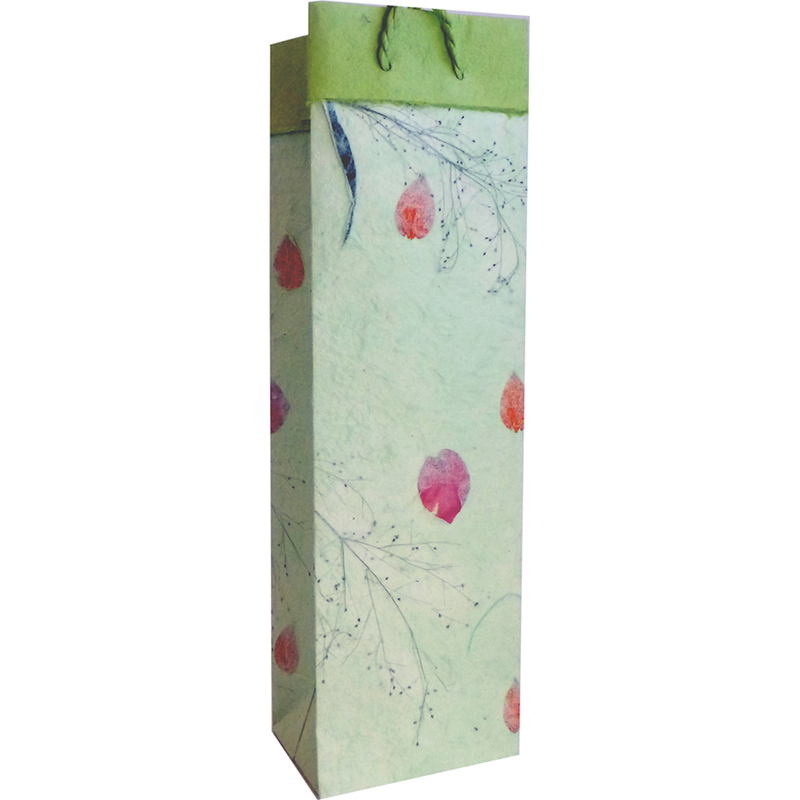pf mint pressed flowers wine bottlebag