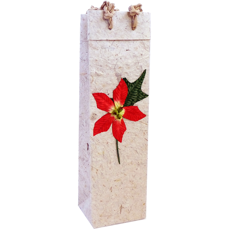 holiday red pointia wine bottle bag