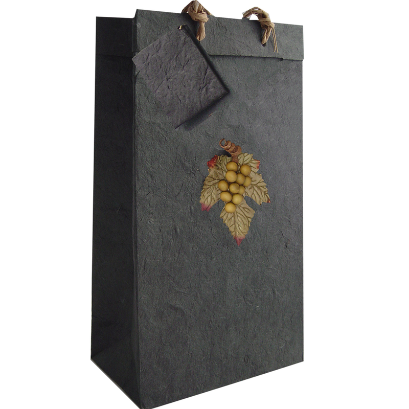 black double bottle wine bag
