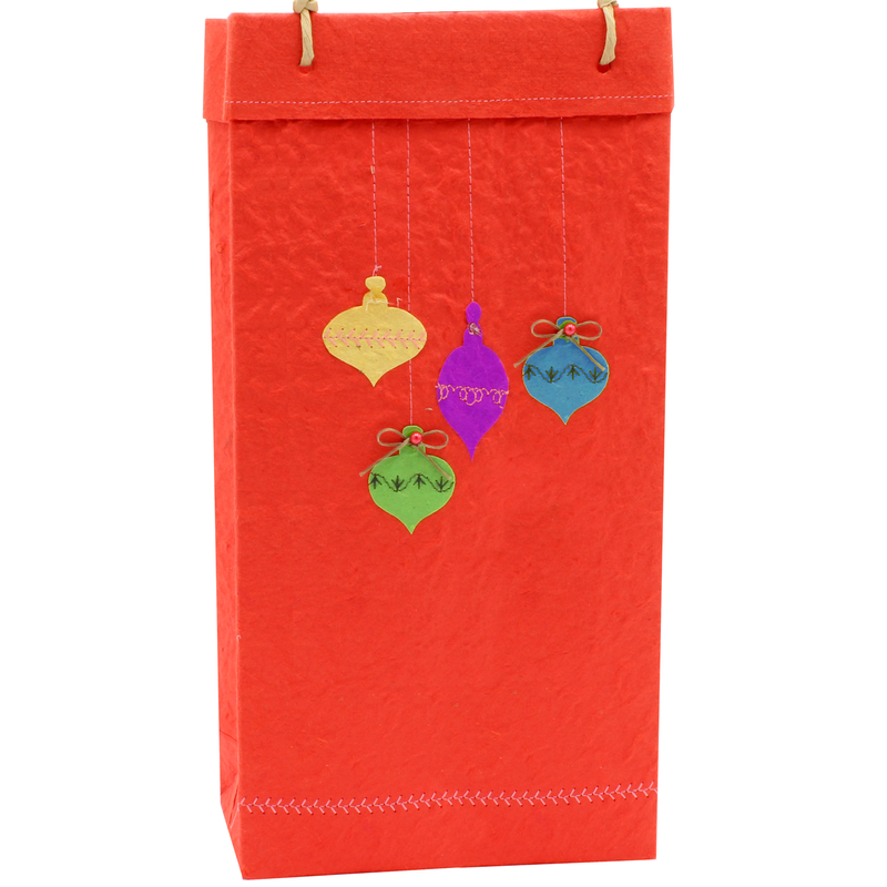holiday eco friendly ornaments wine bottle bag