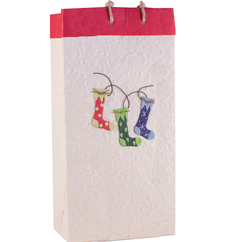christmas stocking wine bag