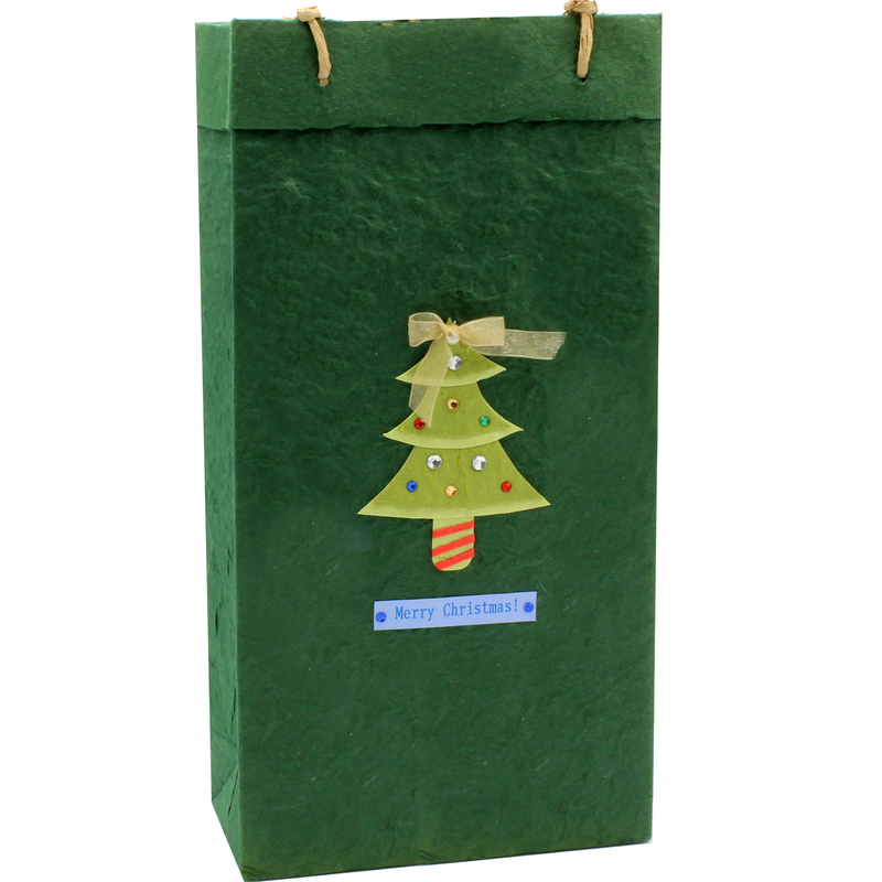 holiday eco friendly tinsel wine bottle bag