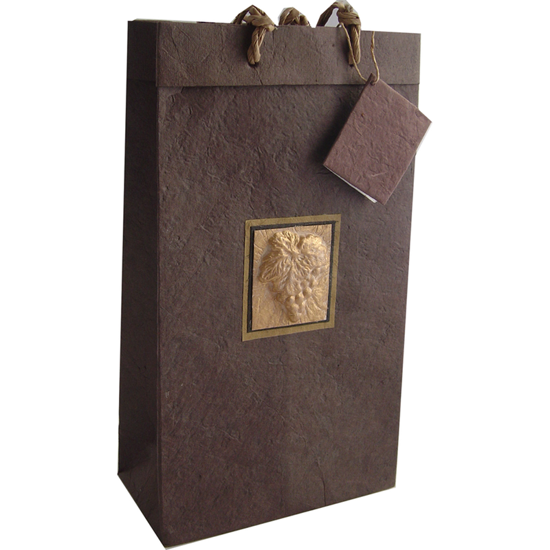 embossed brown tuscany double bottle wine bag