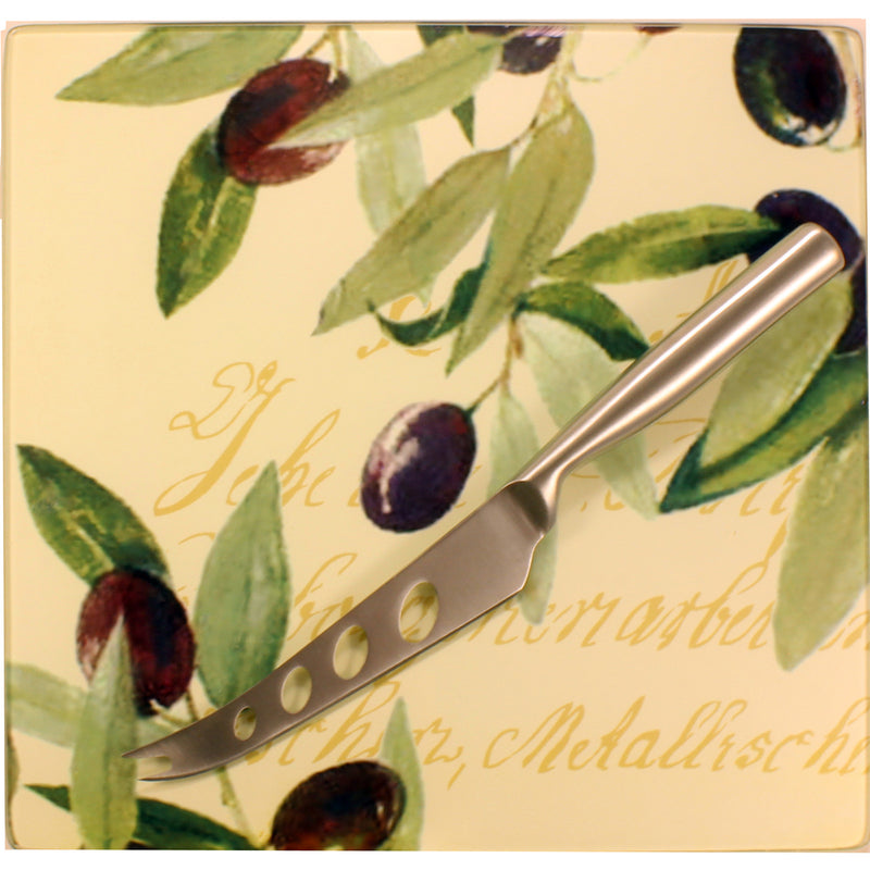 tempered glass board sterling silver cheese knife